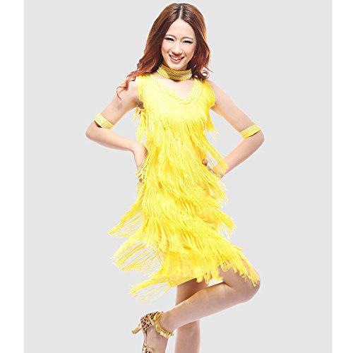 uchtanz Kostüm Für Frauen Quasten Bauchtanz Outfit Gelb Quasten Latin Dance Kleid Rock Kostüm Body Pailletten Kurzen Rock Leistung Kostüm,XXL (Tango Tänzer Halloween Kostüm)