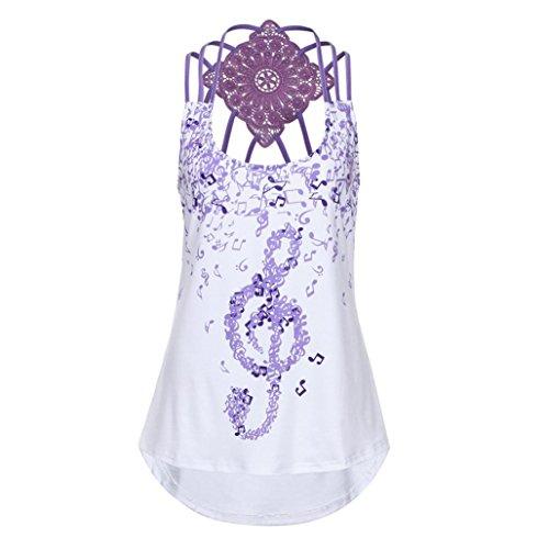 Rosa, Braun Gestreifte Krawatte (OverDose Damen Bandagen ärmellose Weste Top Musical Notes Drucken Strappy Tank Tops Bluse T Shirt(Violett,S))