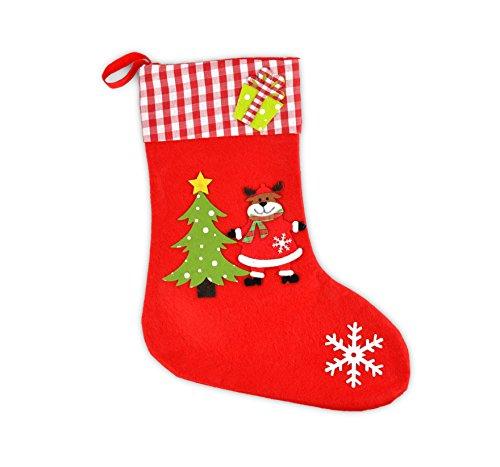 * Roter Weihnachts-Strumpf aus Filz | Drei Motive wählbar: Weihnachtsmann, Schneemann, Rentier | Weihnachtssocke Geschenksocke | ca. 30 cm hoch (Rentier)