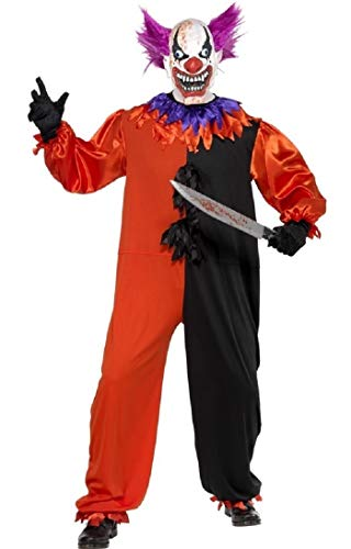 Serial Killer Kostüm - Mens Serial Killer Clown Circus Scary Halloween Fancy Dress Costume Outfit S-XL (Large)