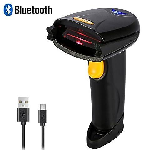 Lecteurs de Codes Barres Sans Fil ,USB 2.0 Douchette Scanner 1D Code Barre Automatique Connecté via Bluetooth ou USB Câble Compatible avec Windows, iOS, Mac, Téléphone Android