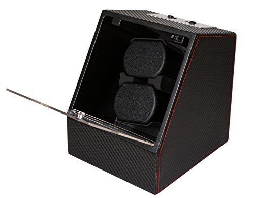 ACE Uhrenbeweger für 2 Uhren | Sportliches Design | Mabuchi-Motor | schwarz | nutzbar mit Strom oder Batterien
