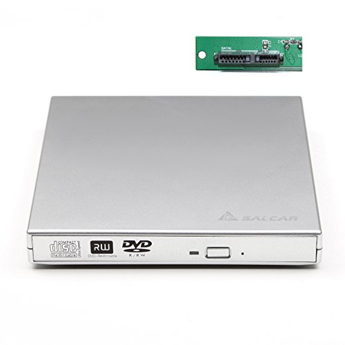 Salcar - Laufwerksgehäuse extern SlimLine SATA USB2.0 (Externer Super Drive Caddy Box) Plug & Play für 12,7mm CD/DVD Laufwerk Brenner (Silber)