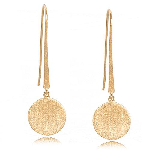Pernille Corydon Damen Ohrringe Coin Hooks - Ohrhaken runder Anhänger Silber vergoldet - E005g