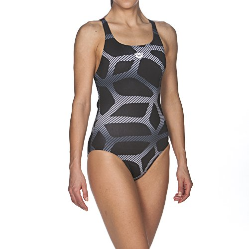 ARES5 Arena Damen Sport Badeanzug Spider Swim Pro, Black-Fresia Rose, 42