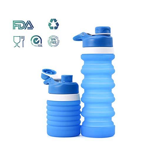 Weisika Faltbare Wasserflasche Silikon Wasserflasche Tragbar Leicht Anti-Leckage BPA Frei Medizinisc (Himmel Blau)