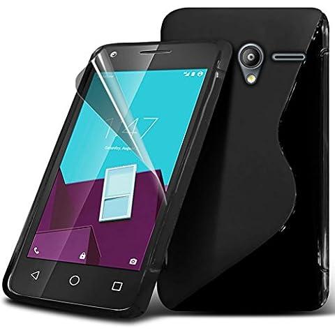 Vodafone Smart prime 7 caso custodia (nero) Copertura Slim fit per proteggi durevole dello schermo Cover + LCD della pelle della cassa del gel dell'onda S linea Vodafone Smart prime 7 Case, Panno Vodafone Smart prime 7 da