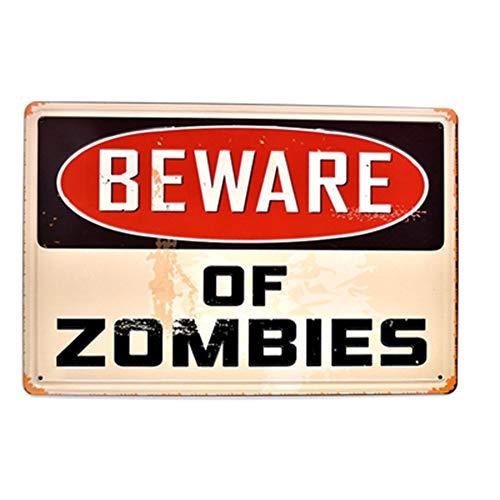 Newcave Blechschild, Aufschrift Beware of Zombies, Vintage, Bar, -