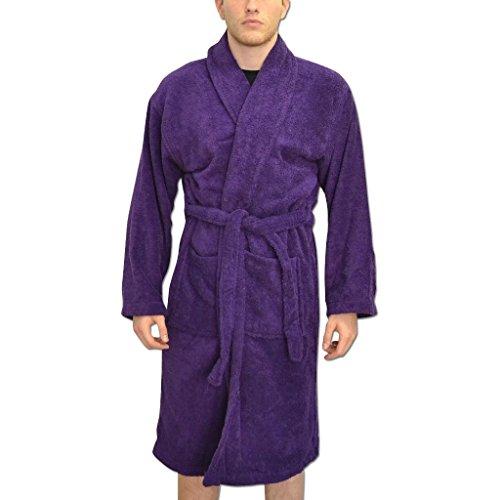 Peignoirs de bain Personnalisés pour hommes robes de chambre cadeaux avec Nom Brodés de Couleur Violette et taille L-XL