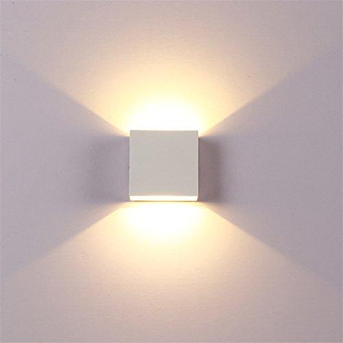 Rail Wandleuchte (LED-Wandleuchten Aluminium Wandleuchte Rail Project Square 6W Wandleuchten Nachttisch Schlafzimmer Wandlampen Kunst DE (Farbe : Weiß-Cold white light))