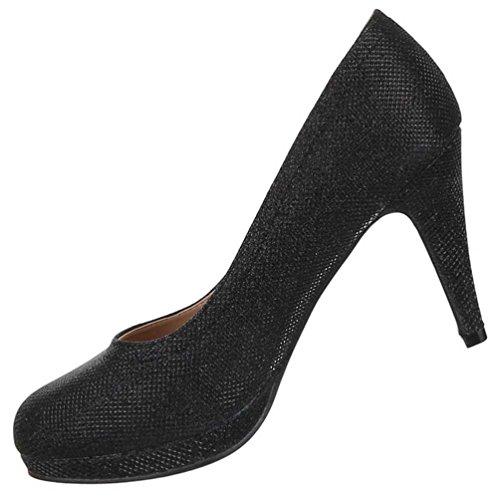 Damen Schuhe Pumps Glänzende Plateau Schwarz