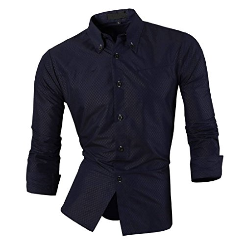 Jeansian Hommes Chemise Casual Slim Fit Trend Fashion Manches Longues Mens Shirt 8516 Navy