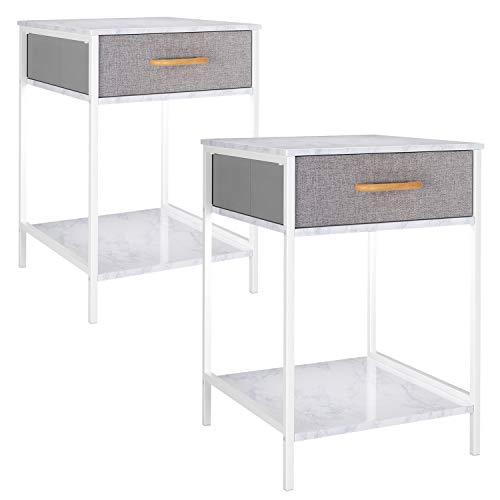 Homfa 2 Stücke Beistelltisch Nachttisch Couchtisch Beistellschrank Nachtschrank Nachtkonsole Ablagetisch mit Schublade Stauraum marmor-weiß-grau Stoff-Holz-Metall 2er Set 60x39x39cm(HxBxT)