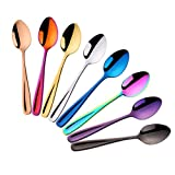 Do Buy 8 Colores Cucharas de Cafe Metal Reutilizable Cucharilla Cucharas Mezcladoras de Azúcar Juego de Mini...