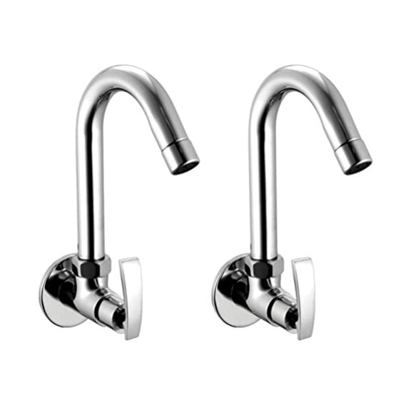 Drizzle Sink Cock Soft Brass Chrome Plated/Kitchen Sink Tap / 360 Degree Moving Spout Tap/Bathroom Tap/Quarter Turn Tap/Water Foam Flow Tap - Set of 2