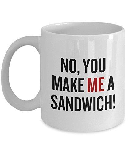 """Taza de café feminista para mujer, regalo de feminismo, para mujer, con texto en inglés""""No You Make Me A Sandwich"""""""