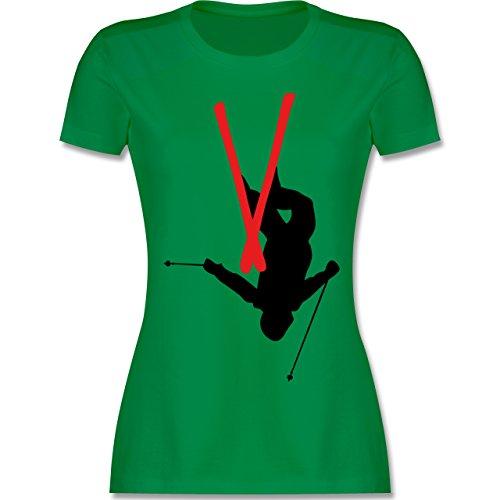 Wintersport - Freestyle Skiing - Freestyle Ski Tricks - tailliertes Premium T-Shirt mit Rundhalsausschnitt für Damen Grün