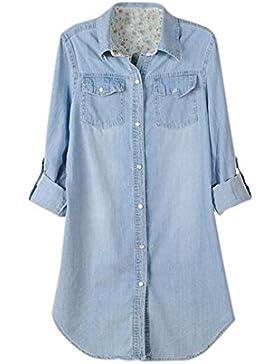 iBaste Larga Camisa Vaquera Mujer Casual Camisas Denim Manga Larga Regulable Corte Clásico