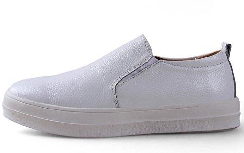 TDA ,  Herren Durchgängies Plateau Sandalen mit Keilabsatz Weiß