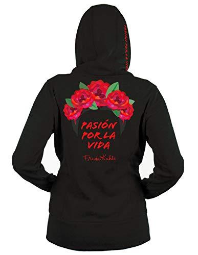Blasfemus - Sudadera con Capucha - Frida Kahlo Oficial con inscripción Pasion por la Vida - Mujer Negro S