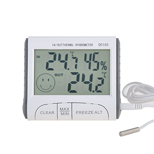 COSANSYS DC103 Weiß Thermometer Digital LCD Display Thermometer Digital Innen Batteriebetrieben Temp Feuchtigkeit Thermometer Hygrometer Innen und Außen