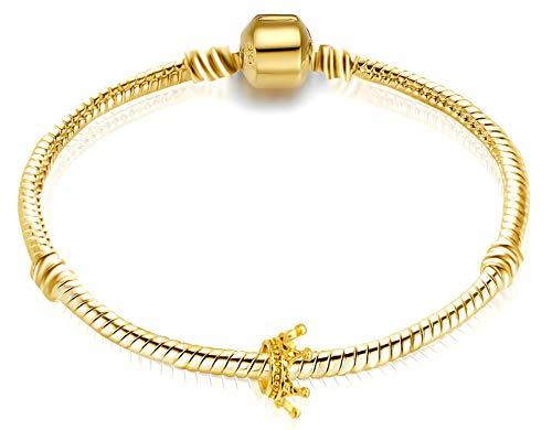 Gold Starterset Armband Schlangenkette Charm-Armband für Damen | Charm-Armband starterset mit kostenlos Krone perle | Kompatibel mit andere Marken | 19cm