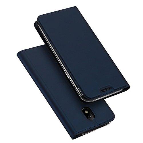 Verco Handyhülle für Galaxy J7 (2017), Premium Handy Flip Cover für Samsung Galaxy J7 Hülle [integr. Magnet] Book Case PU Leder Tasche [J7 J730], Blau