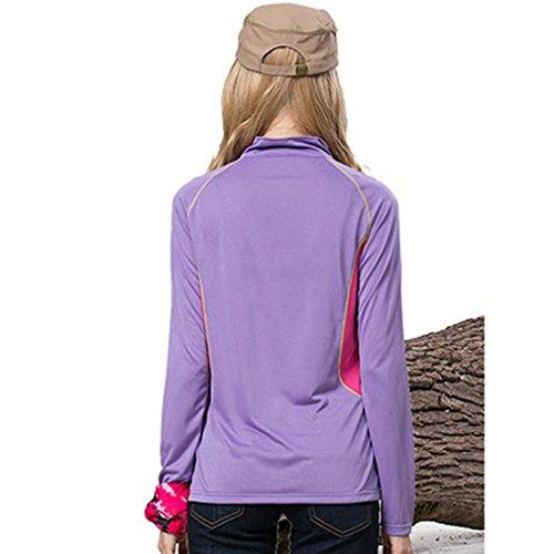 Femmes Randonnée Mountain Sport à séchage rapide T chemises Support Collier T-shirt à manches longues Tops Violet