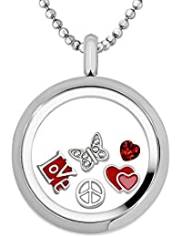 Ladies stainless steel Quiges Memory Locket Pendant 30mm with 5Floating Charms Necklace 90cm (Silver and Rose Gold)
