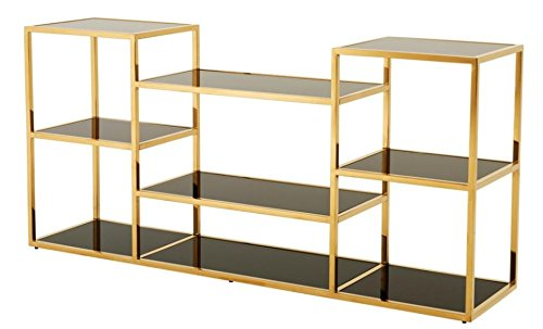 Casa Padrino Konsole Gold mit schwarzem Glas 160 x 38 x H. 75 cm - Designer Kollektion