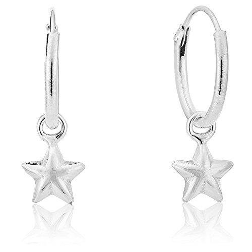 DTP Silver - Pendientes de Aro con Estrella - Plata de Ley 925 - Espes