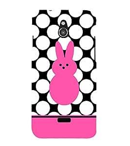 Fiobs Designer Back Case Cover for InFocus M2 (Rabbits Multicolor Multicolour Dots Khargosh Mobile Cover)