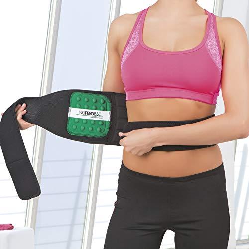 VITALmaxx 00926 Rücken-Stützgürtel | zur Entlastung des Rückens | Biofeedback-Technologie, Klettverschluss, Taillenumfang 55-140 cm | Schwarz/Grün
