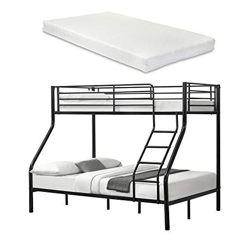 [neu.haus] Metall-Etagenbett - Schwarz - Mit Matratzen 200x140/90cm Kinderbett Stockbett Hochbett Metall Bettgestell -