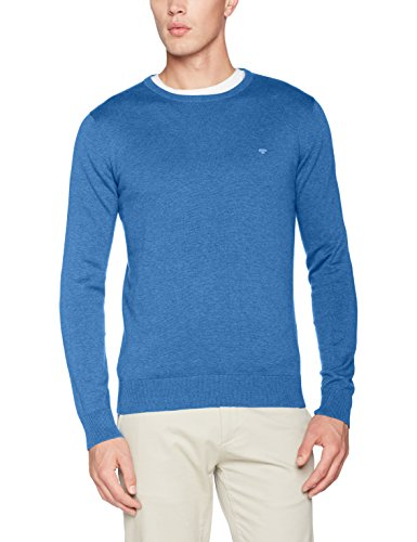 Crewneck Pullover (TOM TAILOR Herren Pullover Basic Crew-Neck Sweater, Blau (Swimming Pool Blue Melange 6755), XX-Large)