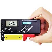 FAVENGO Comprobador de Pilas Medidor para Pilas AAA C D 9V 1.5V Pilas de Botón Probador Digital de Baterías Comprobador de Batería , Pantalla LCD Comprobador de Voltaje para el Hogar Portátil BT-168D