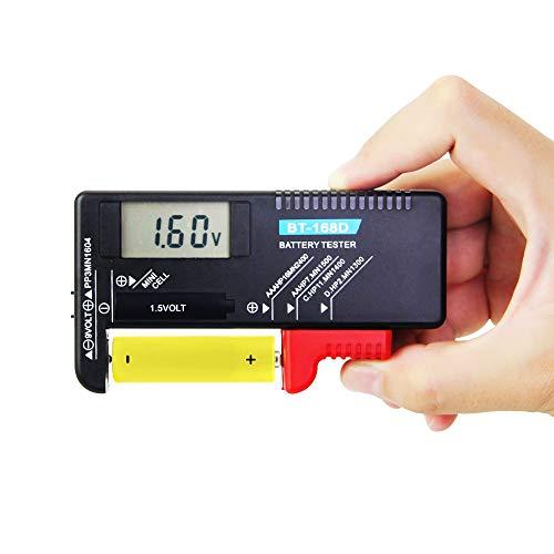 FAVENGO Batterietester Digitaler Akku Tester BT-168D Batterie Testgeräte mit LCD Anzeige Universal Batterieprüfer für AA,AAA,C,D,1.5V,9V Batterien und Knopfzellenbatterien