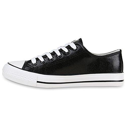 Damen Sneakers Mehrfarbig | Metallic Turnschuhe | Sneaker Low | Freizeit Flats Glitzer Schwarz Glatt
