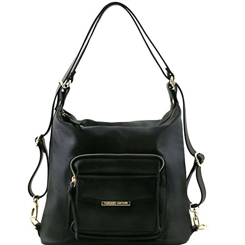 Tuscany Leather - TL Bag - Sac en cuir convertible en sac à dos - Noir