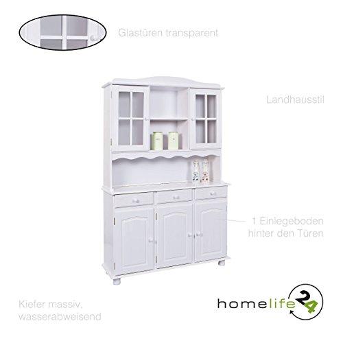 Große Vitrine mit 3 Türen 3 Schubladen 2 Glastüren Kiefer massiv weiß