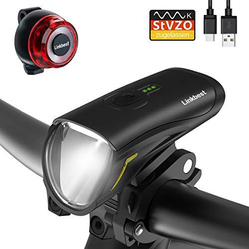 Linkbest Fahrradlicht USB, Fahrradbeleuchtung Set Fahrradlampe Stvzo zugelassen 50 Lux OSRAM LED,Wasserdicht IPX-5, Wiederaufladbare verstellbare Halterung Fit für alle Fahrräder
