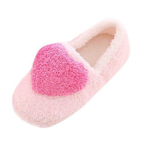 Frau Kurzschaftstiefel Hausschuhe CLOOM Hochwertiger Weibliches Stylische Baumwolle Schuhe Weich Sneaker Flach Gefütterte Warm Schön Damen Zuhause Floor Stock Weich Indoor Damenschuhe (EU:37-38, Rosa) (Warmes Zuhause)