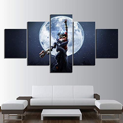 ZUMOOY HD Druck Leinwand Gemälde Wohnkultur 5 Panel Beute Mooncrash Spiel Wandkunst Modulare Bilder Moderne Klassische Poster, Framed 40X60 40X80 40X100cm (Spiel Pc Beute)