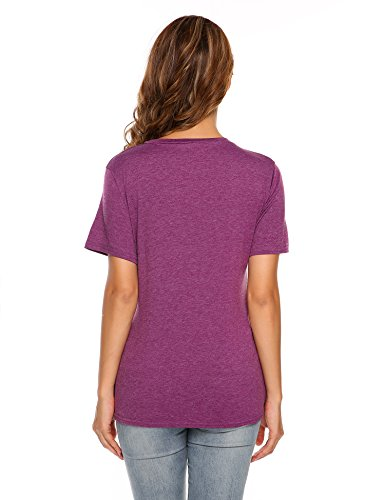 Finejo Damen Brief Druck T-shirt Sommer Kurzarm Loose Baumwolle basic Shirts Bluse Hemd Oberteil Tunika Strand Party Tops Dunkelviolett