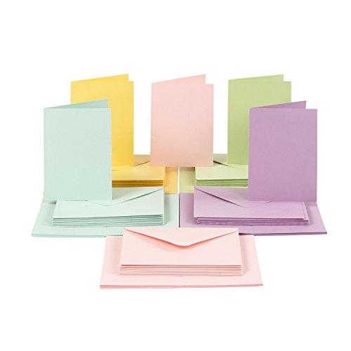 Karten und Briefumschläge Set, DIN A6, pastell, 100-tlg.