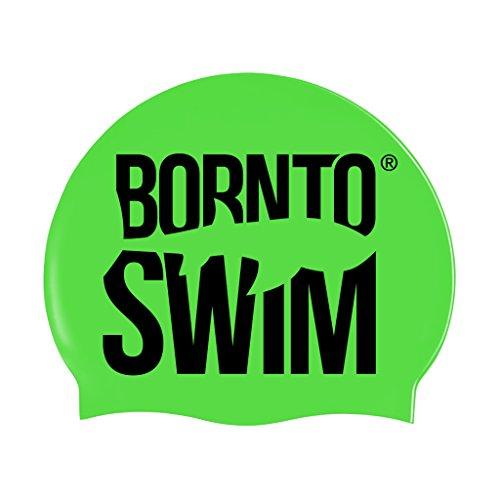 BornToSwim Jugendliche und Erwachsene Badekappe aus Silikon Neon Schwimmkappe Mit Hai Motive Leuchtend Grün/Schwarz One Size fits All
