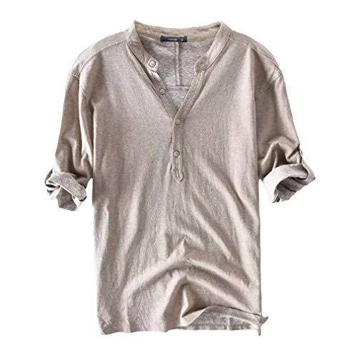 Cotone e lino mezza manica maglietta - uomo casual camicie stretch traspirante camicie slim fit pulsanti henley t-shirt colore puro classico lavoro shirts