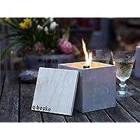 Beske-Betonfeuer mit 'Dauerdocht' | Größe 13x13x13 | Wiederbefüllbare Gartenfackel | 'Unendliche' Brenndauer durch umweltfreundliches Recycling von Kerzenwachs