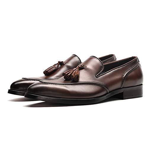 Slip-on-Überschuhe (Herrenschuhe Frühling Leder Loafer Formelle Schuhe Büro Business Work Quaste Anhänger Slip-On/Überschuhe Freizeitschuhe,Brown,44EU)