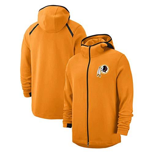 Männer Full Zip Sweatshirt for Washington Redskins Fans Trikots Freizeit Hoodie Mode Langarm Pullover Herbst Und Winter (Color : Orange, Size : M) -